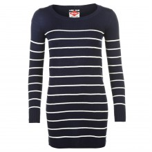 Lee Cooper Stripe Long Knit Jumper Ladies