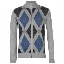 Pierre Cardin Full Zip Argyle Cardigan Mens