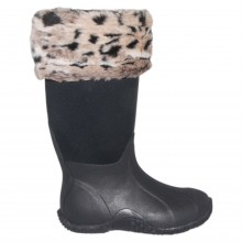 Requisite Snow Leopard Faux Fur Boot Toppers One Size