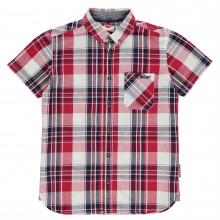 Lee Cooper Short Sleeve Fashion Checked Shirt Junior Boys