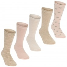 Crafted Essentials 5 Pack Heart Socks Child Girls