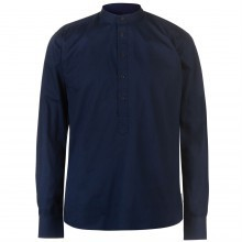 Pierre Cardin Collarless Long Sleeve Shirt Mens
