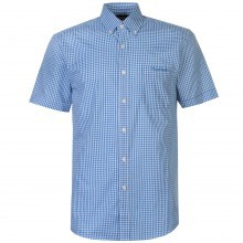 Pierre Cardin Small Gingham Short Sleeve Shirt Mens
