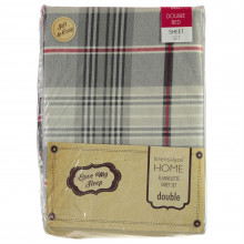 The Spirit Of Christmas Check Flannelette Sheet Bed Set