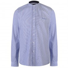 Pierre Cardin Collarless Long Sleeve Stripe Shirt Mens