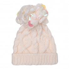 Женская шапка Crafted Essentials Cable Pompom Hat Junior Girls
