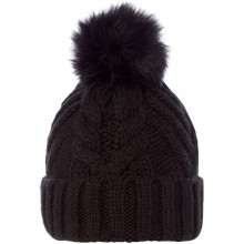 Женская шапка Linea Knitted faux fur pom beanie