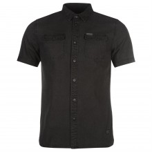 Firetrap Blackseal Dogtooth Over Dyed Shirt