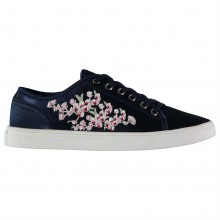 Fabric Embroidered Lace Ladies Trainers
