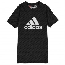 adidas AOP Logo T Shirt Junior Boys